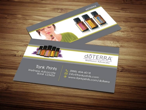 doterra full color business cards, doterra grey business card, grey doterra cards
