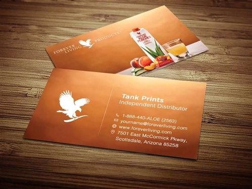aloe peaches forever living business cards