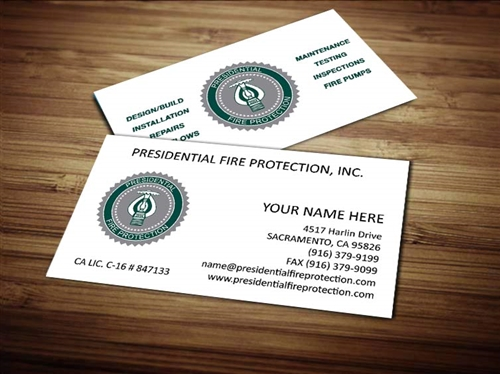 Presidential fire protection business card design 1 colourmoves