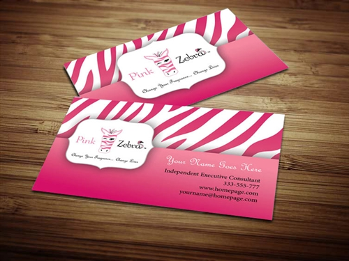 Pink Zebra Business Card Design 3