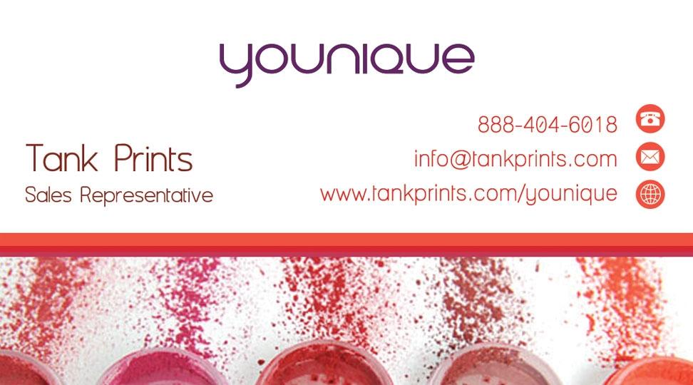 younique business cards tank prints