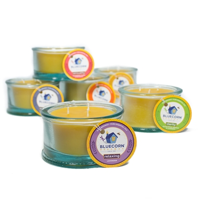 100% Recycled Spanish Glass Aromatherapy Beeswax Candle