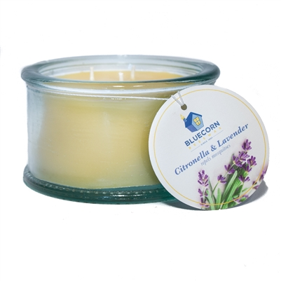 Citronella-Lavender Spanish 3 Wick Candle - 100% Recycled Glass