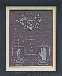 Personalised Engagement clock with family crests