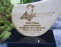 """Hurler on the ditch"" Dad gift idea. Engraved Ash hurley mounted on marble base"