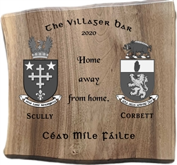 Oak Anniversary/Wedding gift plaque engraved with Family crests and wedding details.