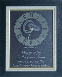 Personalised framed natural slate wedding clock