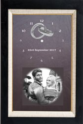 Natural slate wedding clock with image of couple