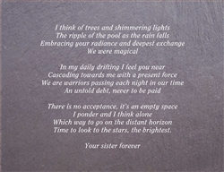 Engraved slate plaque with favourite image, poem, song or saying