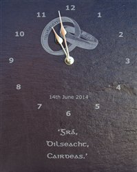 Personalised natural slate wedding clock