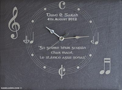 unique music wall clock gift laser engraved on slate with personalised message for the bride and