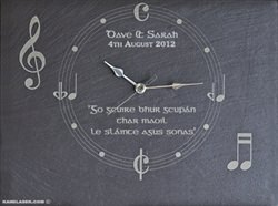 Unique music wall clock gift laser engraved on slate with personalised message for the bride and groom on their wedding day