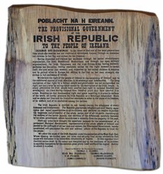 1916 Irish Proclamation engraved on wood
