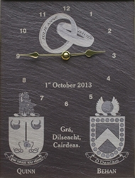Custom made anniversary wedding clock with family crests