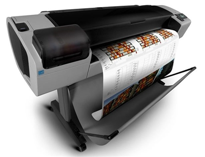 "CR652A Refurbished Demo HP Designjet T1300PS wide format 44"" wide color CAD plotter. Engineering T1300 printer large format T1300 plotter. Design jet t1300 ePrinter with dual roll and postscript for full color maps and cad printing"