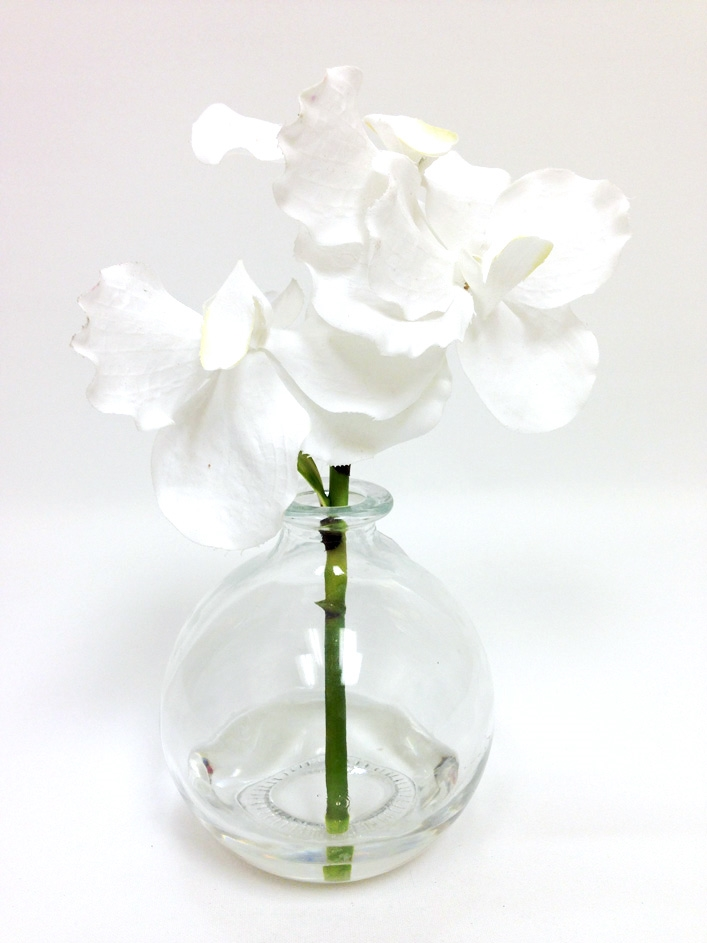 White vanda orchid silk flower silk flower arrangement 8 inch white vanda orchid silk flower arrangement with glass vase mightylinksfo