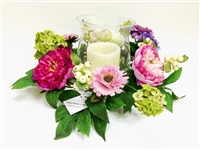 "14X3"" Peony Silk Flower Wreath with Glass Vase & LED Candle"