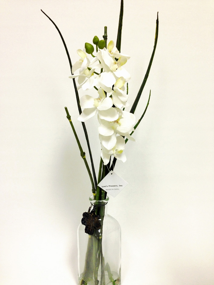 White phalaenopsis orchid silk flower arrangement 21 white phalaenopsis orchid silk flower arrangement glass vase mightylinksfo Image collections