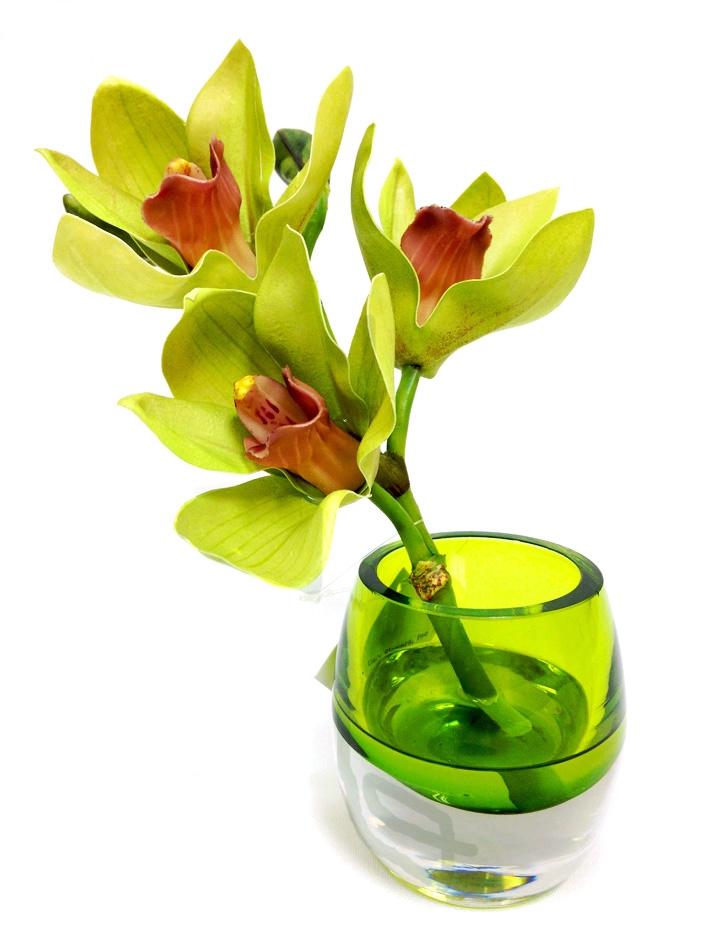 6 Green Cymbidium Orchid Real Touch Artificial Flower Arrangement