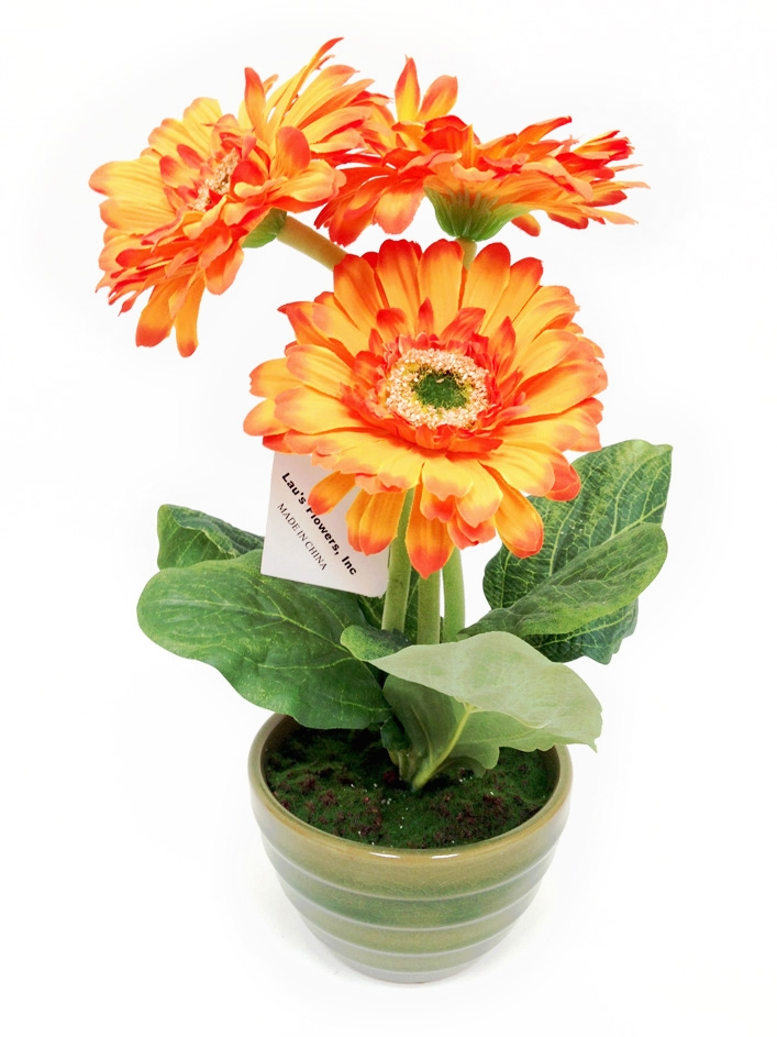 Orange gerbera silk flower arrangement in white laus flowers inc our mightylinksfo