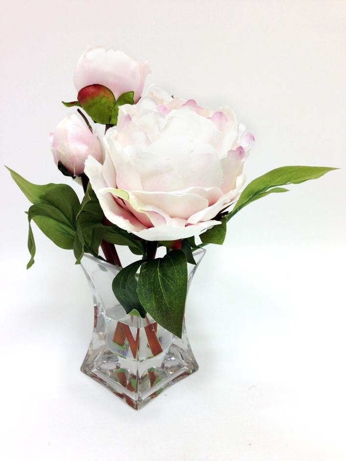9 peach peony silk flower arrangement white glass vase our mightylinksfo