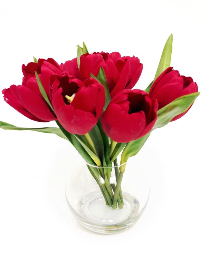 Red Tulip Silk Flower Arrangement In Brooklyn