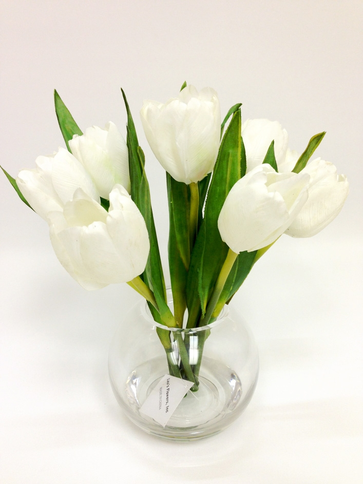 Flower white tulip silk arrangement 10 white tulip silk flower arrangement glass vase mightylinksfo