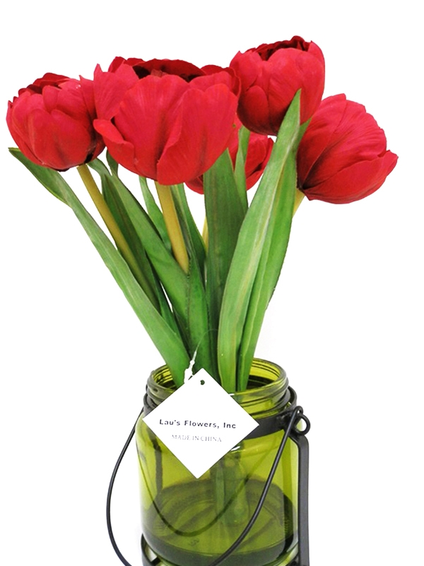 Buy white 11 tulip silk flower arrangement glass vase laus our mightylinksfo