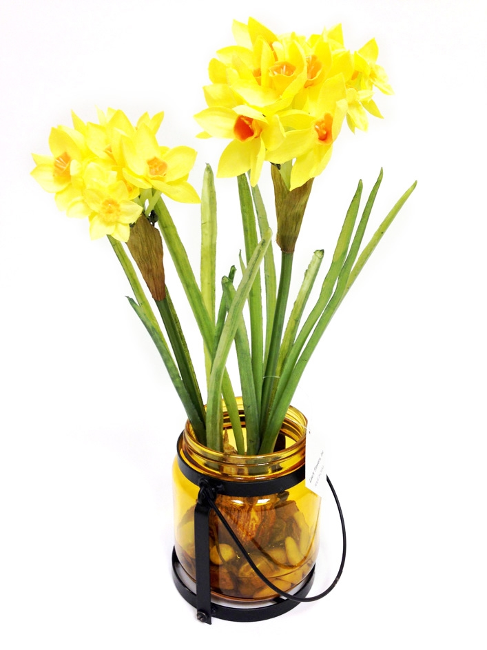 Buy yellow 13 us daffodil silk flower arrangement wglass vase 13 us daffodil silk flower arrangement mightylinksfo