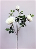 Silk Rose Flower Spray - White