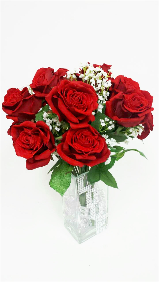 Get red roses silk flowers arrangement our price 9900 mightylinksfo