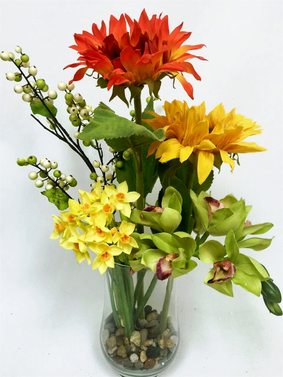 Colorful Real Touch Flowers Glass Vase