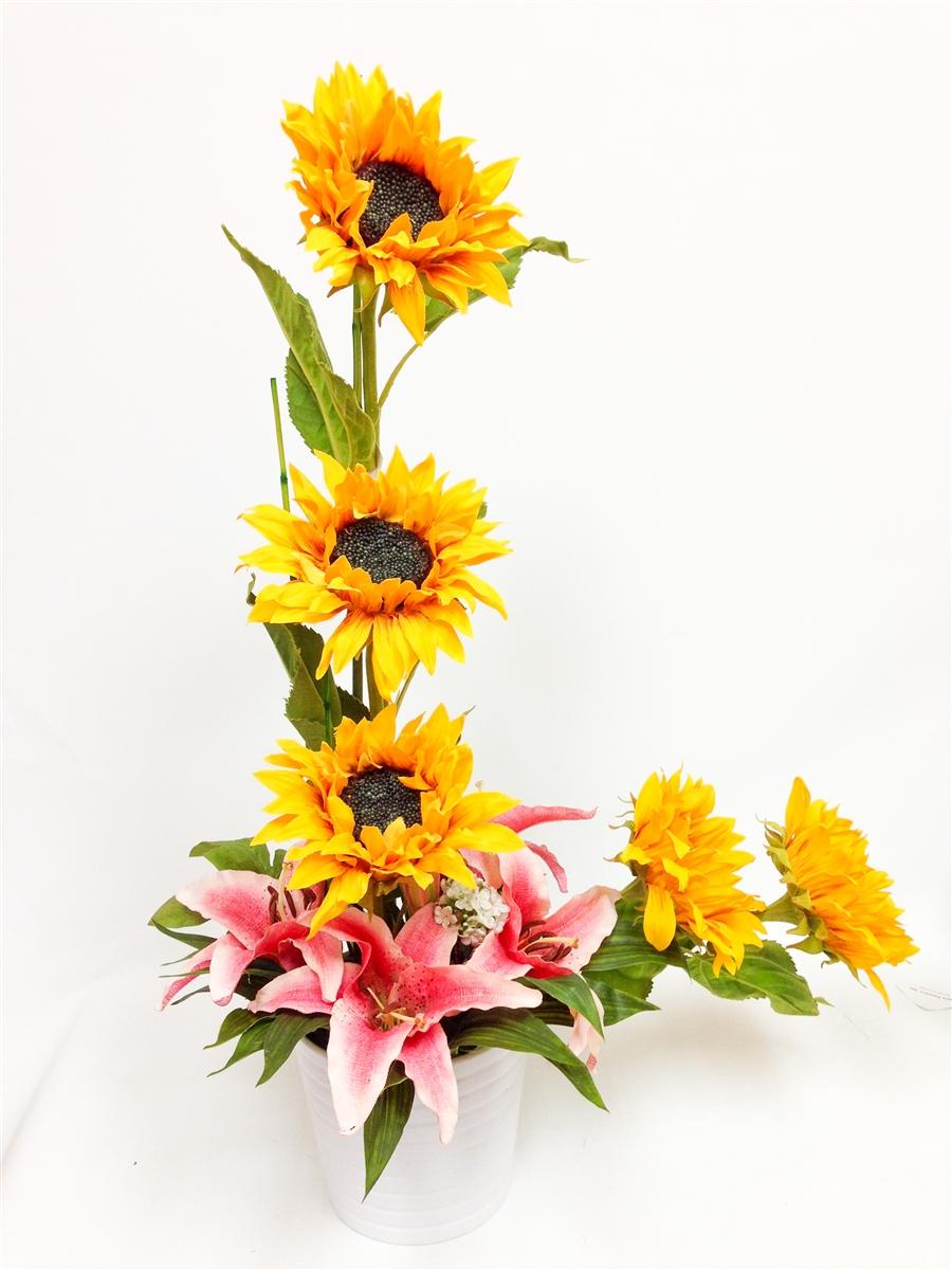Stylish sunflowers tiger lily arrangement in white ceramic pot our price 8499 izmirmasajfo