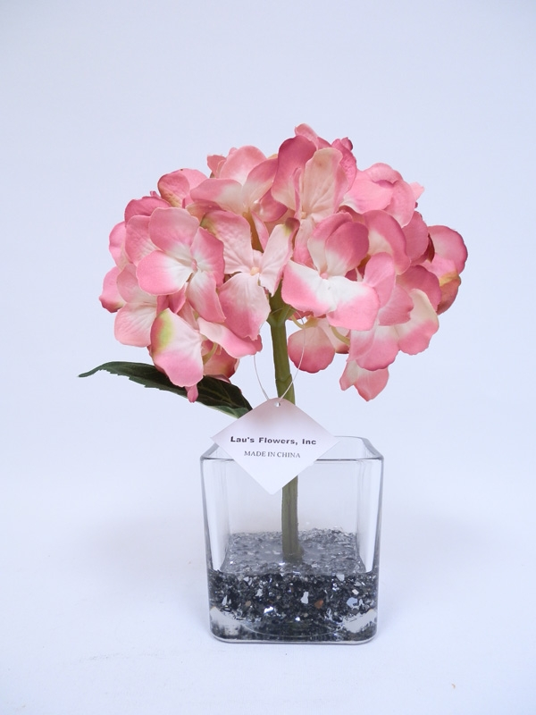 Get glass vase blue hydrangea silk flower arrangement 13 blue color hydrangea silk flower arrangement glass vase mightylinksfo