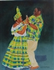 Quadrille Couple in Yellow, Blue, and Green Madras