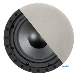 "8"" Frameless Dual Channel In-Ceiling Subwoofer with Poly Woofer - Black & White"