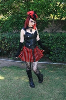 A-Line Mini Red & Black Skirt - This A-line Short Skirt is done in Striped Heavy Cotton Twill and has an elastic waistband.