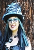 BIG TOP HAT BLUE DAMASK All Hilary's Vanity Hats are hand made by Hilary shipping can take up to 2 weeks depending of if we have to make a new one or if it is in stock.