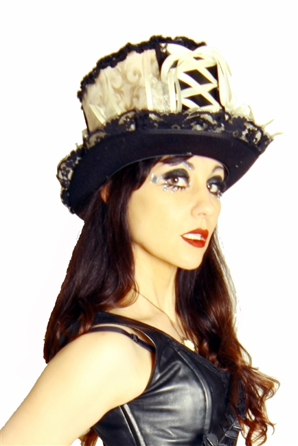 BIG TOP HAT NUDE AND BLACK All Hilary's Vanity Hats are hand made by Hilary shipping can take up to 2 weeks depending of if we have to make a new one or if it is in stock.