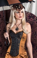 Brown Swirl Corset is done in our Brown and Black Brocade fabric and has Brown satin on the sides. This corset Features Back lacing, Front busk closures, a privacy panel, and has steel coil boning.