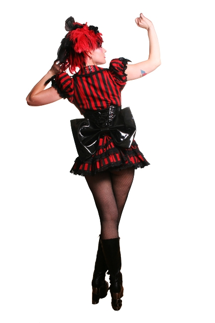 The Butt Bow PVC Black is made to be attached to Corset strings and features a Snap Enclosure. It is made of Black PVC.