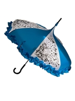 "DELUXE-LOOKING GLASS-The Hilary's Vanity Deluxe Collection Diameter is 36"" Hight 36"".Go through the looking glass where everything is Curiouser and curiouser… This beautiful LOOKING GLASS Umbrella features a Ruffle and hook-style handle."