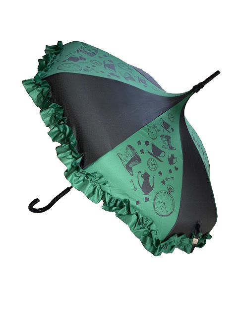 DELUXE-MAD AS A HATTER We're ALL mad here! And you'll go mad for this Umbrella has top-hats, timepieces and teacups featuring a Ruffle  and hook-style handle.