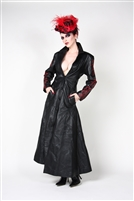This Ladies Full Length Trench Coat in Black Leather with Button-down Front has a Back Cinch Corset and features beautiful Arcane Red Detail Embroidery. Made of 100% Genuine Napa Leather and Fully Lined in 100% Polyester.