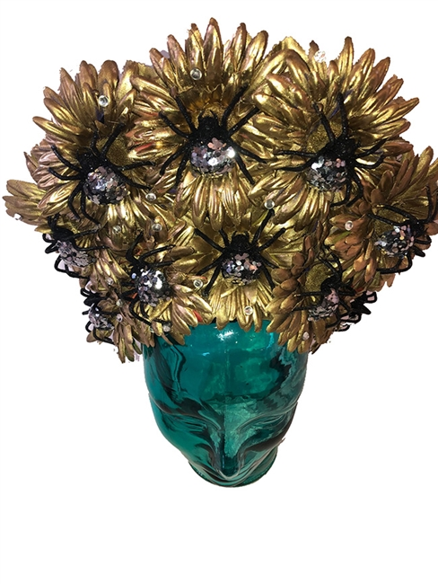 Gold with Sliver Spiders Day Of the Dead Headdress one of a kind Made by Hilary