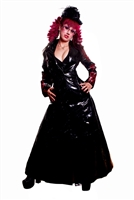 Devious Lady PVC- This Full-Length PVC Trench Coat done in our Heavy PVC. Features a Back-Cinch Corset, Button Down Front, Arcane Red Detail Embroidery 100% Polyester Lining.