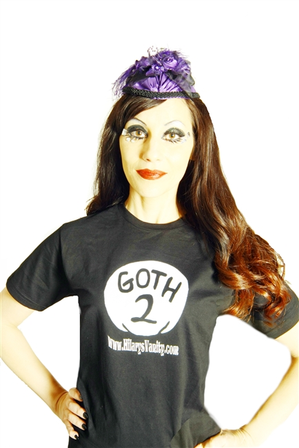 Goth 2 Tee Shirt- 1 Goth 2 Goth green goth blue goth oh what we just wear black LOL. This Black tee shirt has white details. They are standard unisex sizes S-2X.