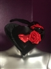 HEART HAT BLACK WITH RED HEART All Hilary's Vanity Hats are hand made by Hilary shipping can take up to 2 weeks depending of if we have to make a new one or if it is in stock.