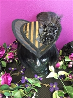 HEART HAT BROWN AND BLACK STRIPE All Hilary's Vanity Hats are hand made by Hilary shipping can take up to 2 weeks depending of if we have to make a new one or if it is in stock.