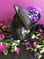 HEART HAT PURPLE AND BLACK All Hilary's Vanity Hats are hand made by Hilary shipping can take up to 2 weeks depending of if we have to make a new one or if it is in stock.